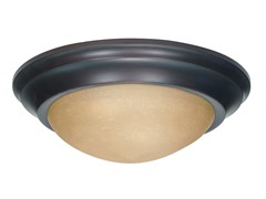 "2-Light 14"" Flush Mount, Mahogany Bronze"