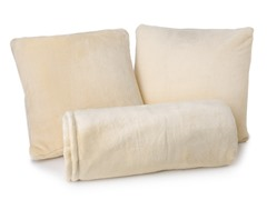Cozy Throw and 2pc Pillow Set-Creme