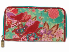 Boho Birds & Cherry Blossom Wallet, Teal