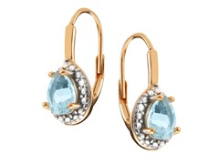 18K Gold SS Blue Topaz Gemstone w/Diamond Leverback Earrings