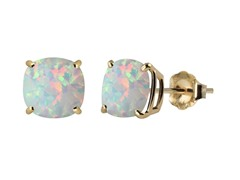 10K YG Stud Earrings, Created Opal