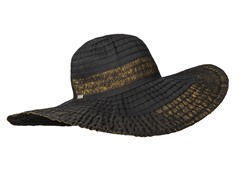 Oleander Wide Brim Sun Hat, Black/Gold