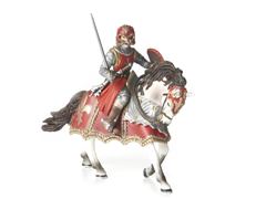 Red Knight with Sword on Horse