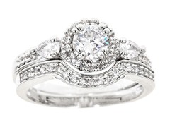 18kt WG Plated Sim Diamond Tri Stone Ring