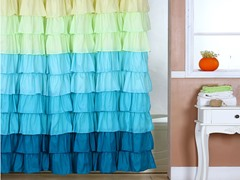 Spring Ruffle Shower Curtain