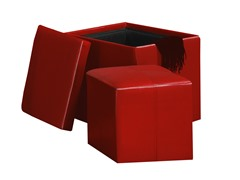 Faux Leather Cube Storage Ottoman - Red