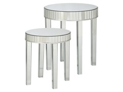 Round Mirrored Nesting Table 2-Piece Set