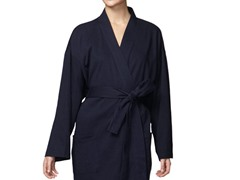 Organic Cotton Jersey Knit Robe -Navy