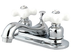 Porcelain Cross Handle Faucet, Polished Chrome