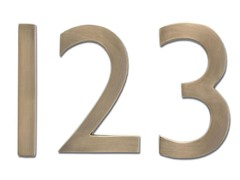 4-Inch House Numbers, Antique Brass