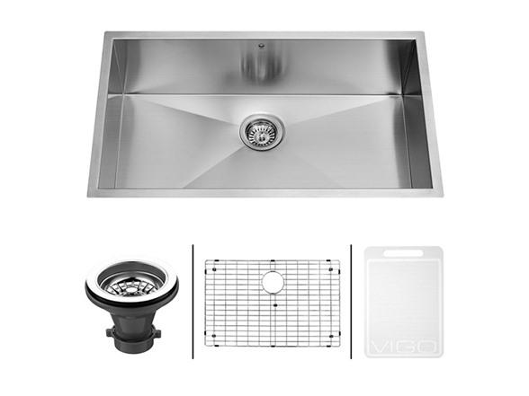 30-inch Undermount Stainless Steel Kitchen Sink, Grid And