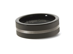 Tungsten Two-Tone Black/White Ring