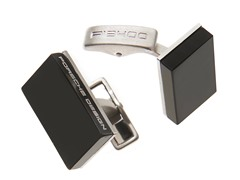 Sterling Silver Square Cufflinks, Black