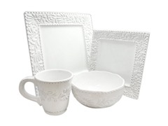 American Atelier Bianca Leaf 16 Pc Dinnerware Set
