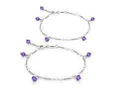 Amethyst Bracelet & Anklet Set