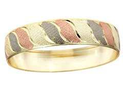 18kt Plated Fancy Diamond Cut Swirl Tri Color