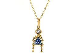 14kt Gold Gemstone Girl Pendant Necklace, Light Blue