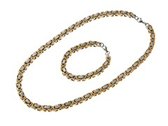 18kt Gold Plated 2-Tone Bracelet & Necklace