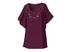Star Vixen Top with Silver Necklace,Plum