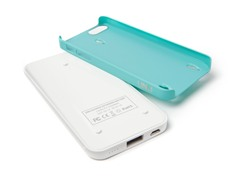 Ecopak iPhone5 Battery Case - Wht/LtBlue
