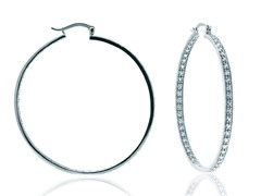 "SS Simulated Diamond 2"" Eternity Inside Out Round Hoop"