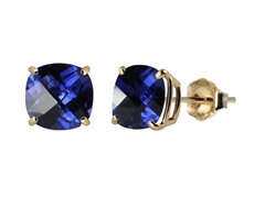 10K YG Stud Earrings, Blue Sapphire