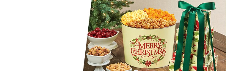 The Popcorn Factory's Merry Christmas Tin & Tower