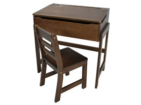 Kid's Slanted Top Desk & Chair - Walnut