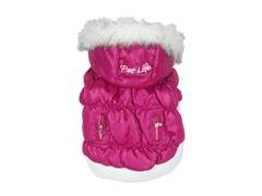 Pink Metallic Fashion Parka with Hood