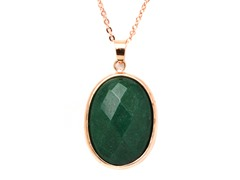 Plated Oval Jade Pendant & Necklace