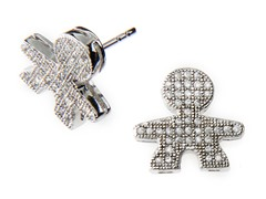 Sterling Silver Boy Micropave Earrings