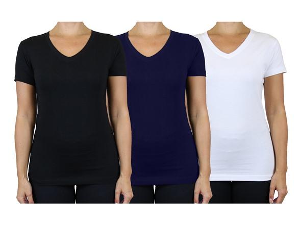 Image of 3 Women S/s Vneck Loose Fit Undershirt T