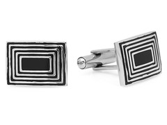 Stainless Steel Cufflinks w/ Maze Accent