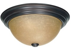 "2-Light 13"" Flush Mount, Mahogany Bronze"