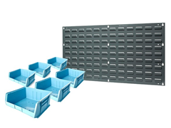 "Wall Panel with 6-15"" x 16"" x 7"" Bins, Blue"