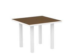Euro Dining Table, White/Teak