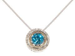 Silver & 14k Gold Blue Topaz Pendant