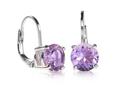 SS Amethyst Leverback Earrings