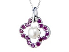 Silver Necklace w/ Pearl & Ruby