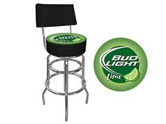 bud light lime padded bar stool w back. Black Bedroom Furniture Sets. Home Design Ideas