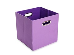 Purple Canvas Folding Storage Bin