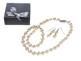 SS, White Freshwater Pearl Neck & Earring Set