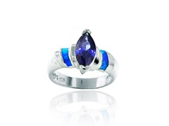 SS Blue Opal with Tanzanite CZ Band Ring