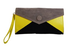 Button Clutch Bag, Grey Black & Yellow