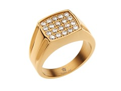 14k Gold Plated Steel & CZ Square Ring