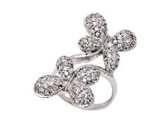 Rhodium Plated Sim Diamond Double Butterfly Ring