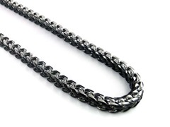 Fancy Black Ion Plated SS 24 inch 2 Tone Franco Chain