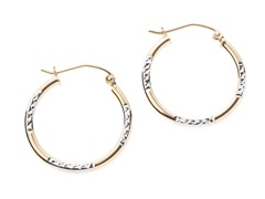 14k Gold Patterned Hoop Earrings,Two Tone