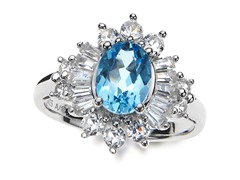 SS, Blue Topaz & White Sapphire Cocktail Ring