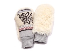 Girls Snowflake Faux Fur Covered Mittens